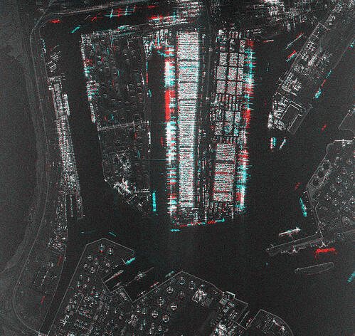 Amplitude Change Detection obtained over the Port of Rotterdam, Netherlands with ICEYE Daily Coherent GTR data.